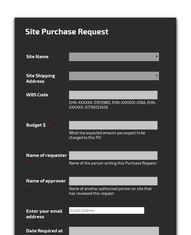Site Purchase Request
