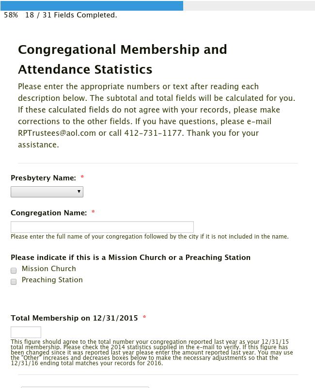 Congregational Membership and Attendance Statistics