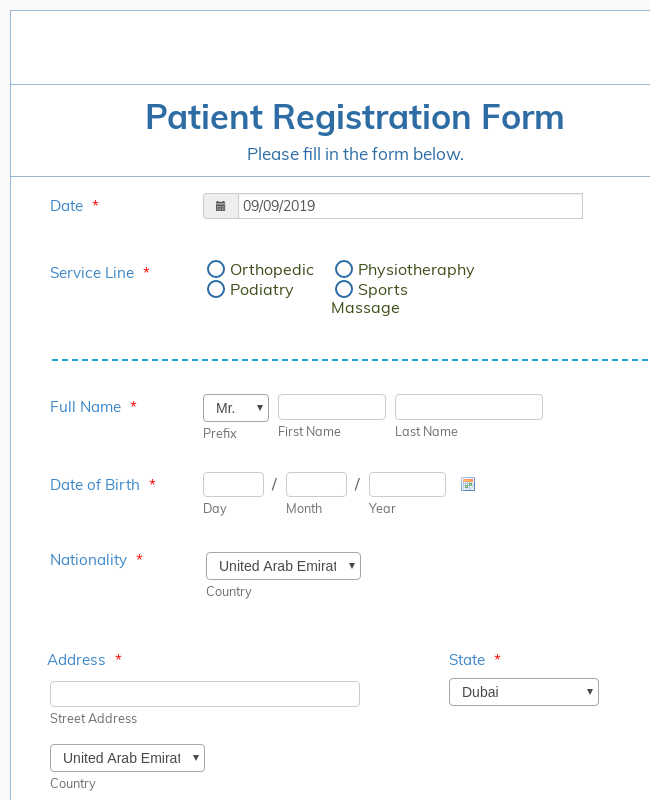 Orthosports Medical Center - Patient Registration Form