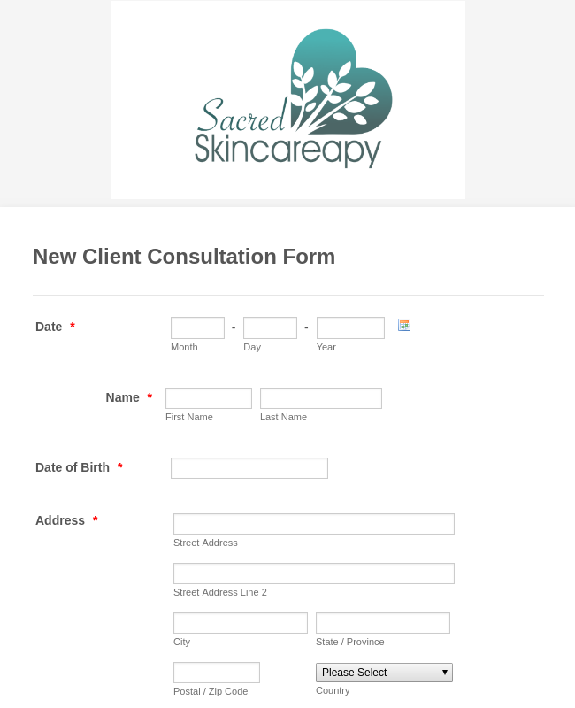 Skin Care Consultation Form