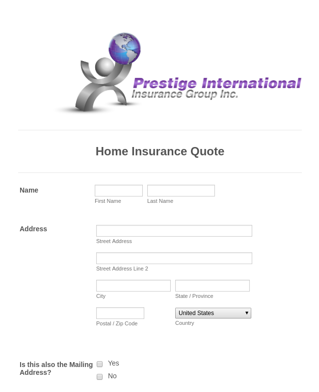 Home Insurance Quote Form Template | JotForm