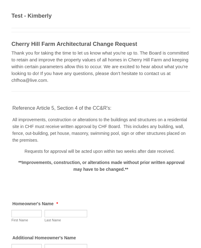 Architectural Change Request Form