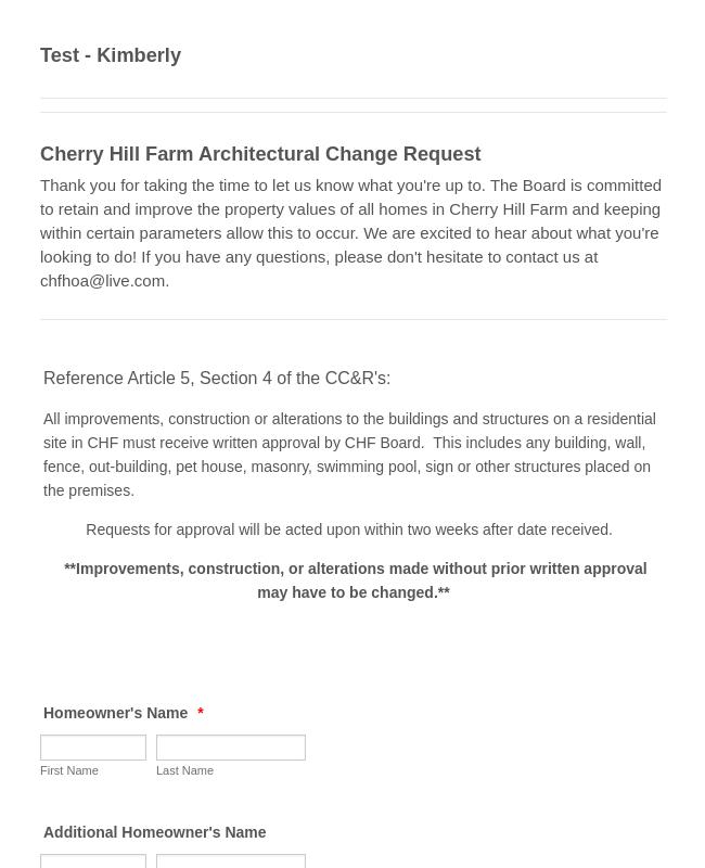 Architectural Change Request Form