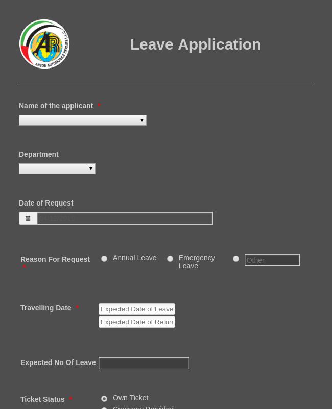 Leave Application Form