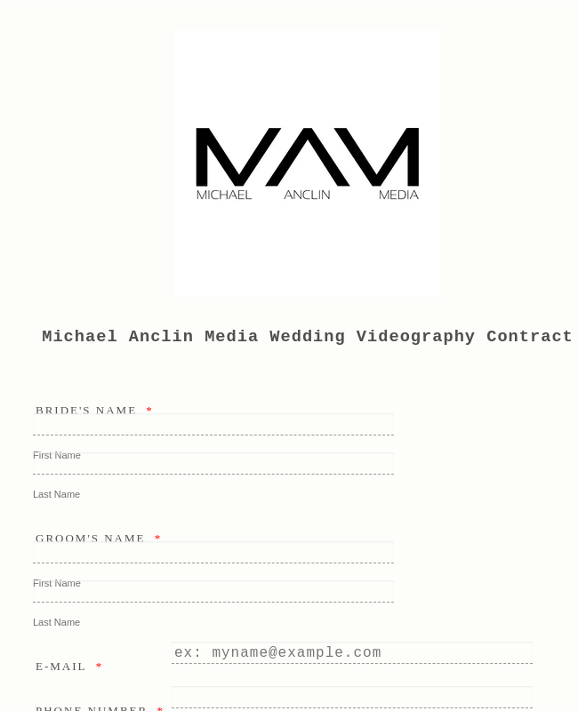 Wedding Videography Contract Form Template Jotform