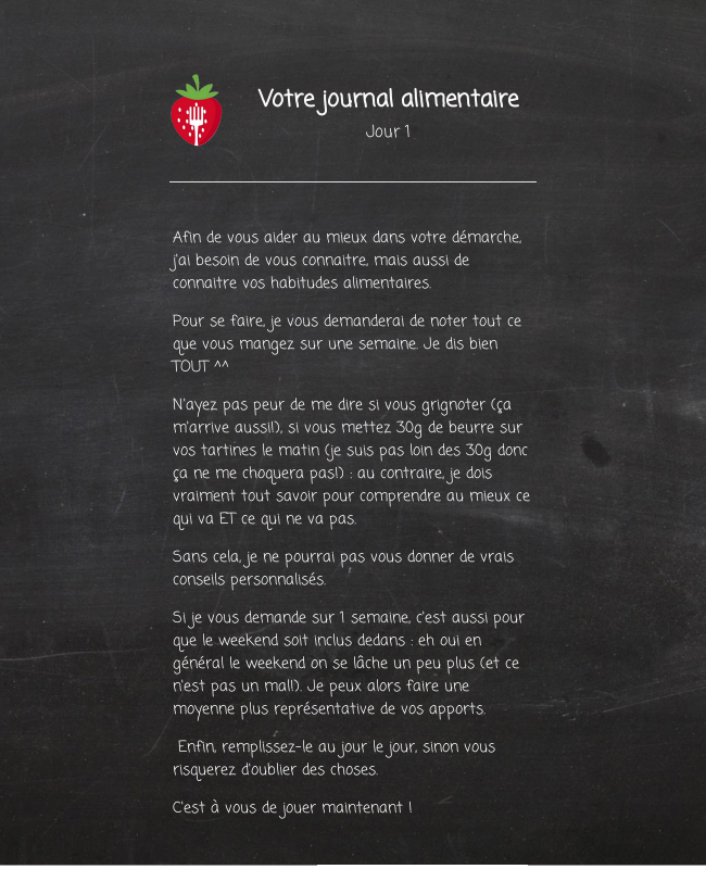 Journal alimentaire - Jour 1