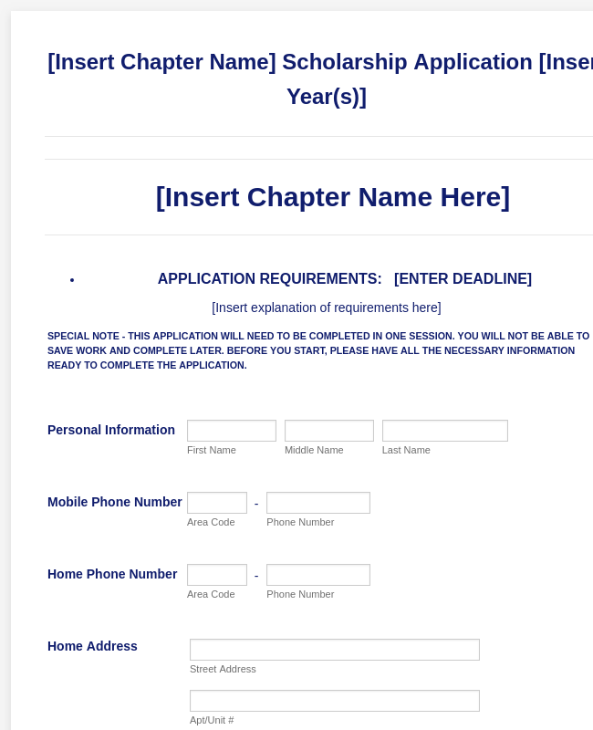 General Scholarship Application Form