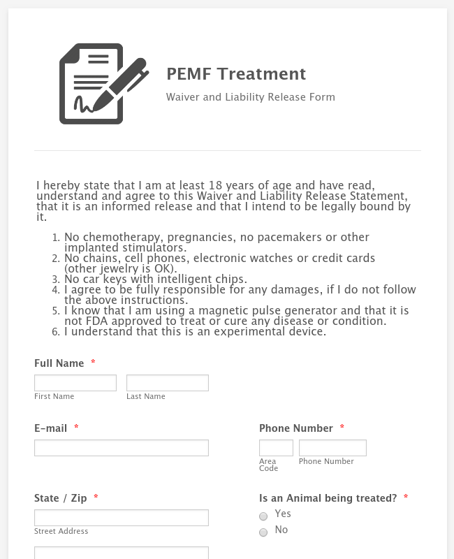 Animal PEMF Liability Release and Waiver Form