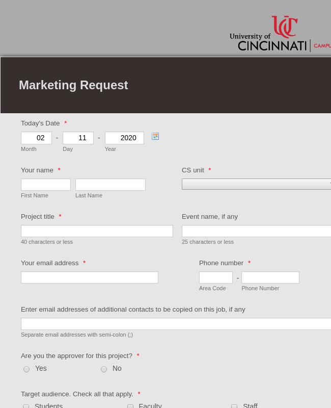Marketing Request