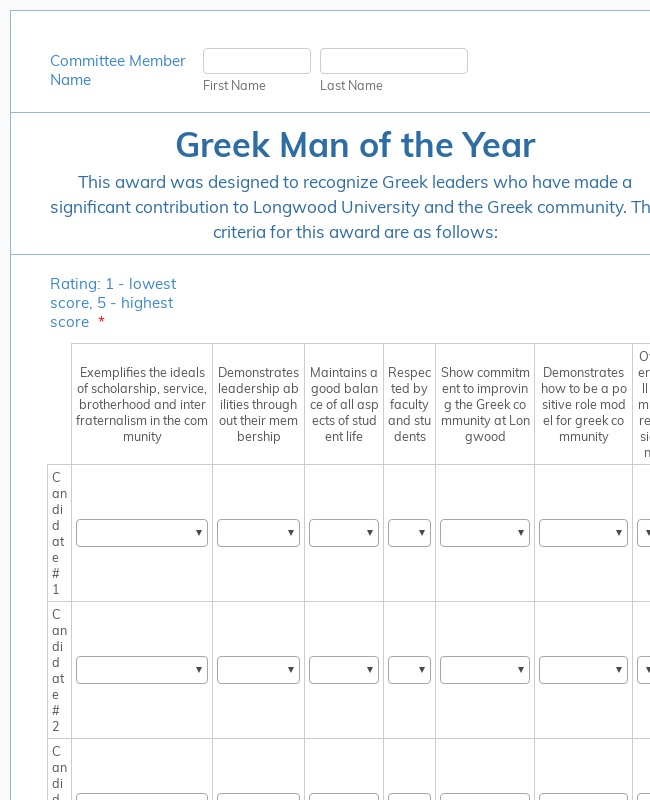 Greek Man of the Year Nomination Form