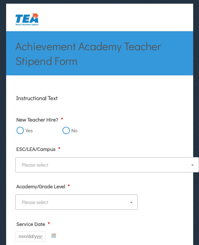 Academy Teacher Stipend Form