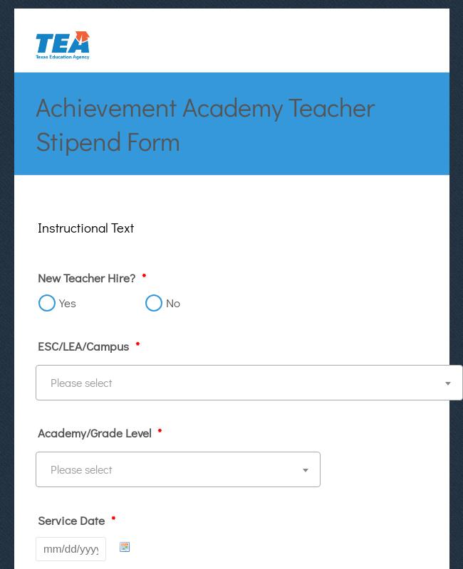 Academy Teacher Stipend Form