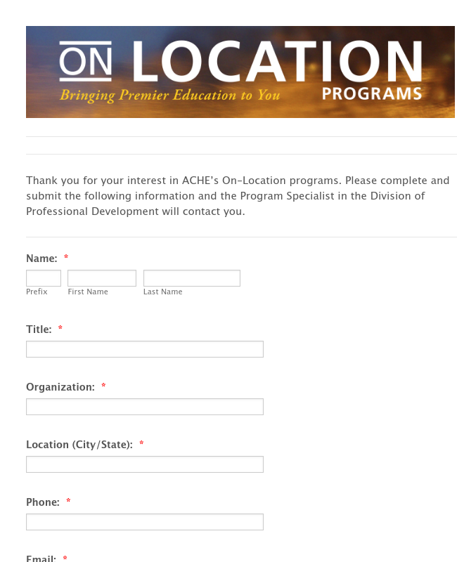 On-Location Inquiry Form