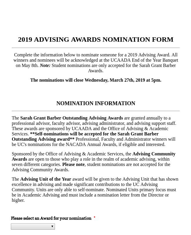 2019 Advising Awards Nomination Form