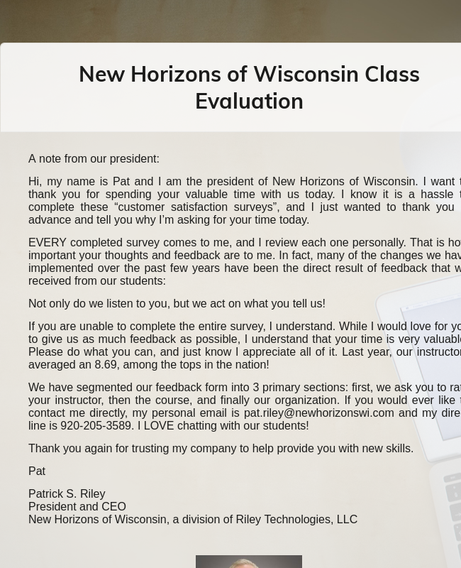 New Horizons Of Wisconsin Class Evaluation