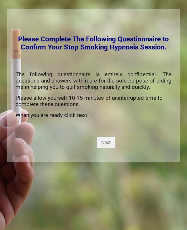 Stop Smoking Questionare