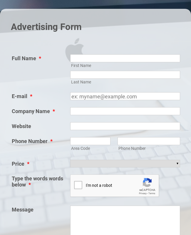 Customized Basic Advertising Form