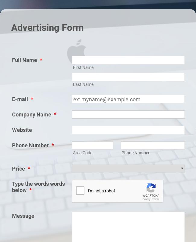 Customized Basic Advertising Form