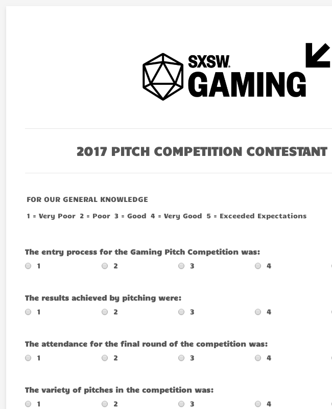 Contestant Feedback Form