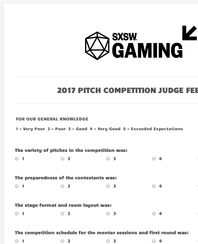 Competition Judge Feedback