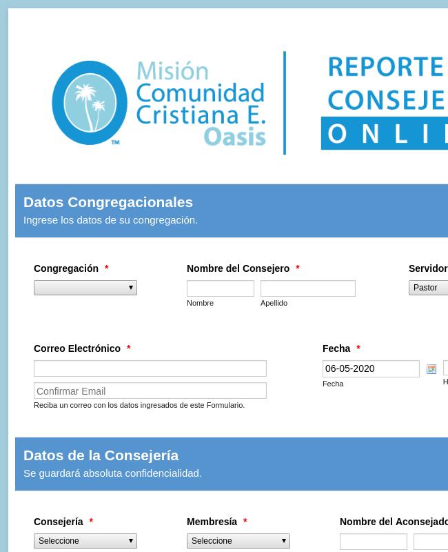 Reporte de Consejería Online - Oasis