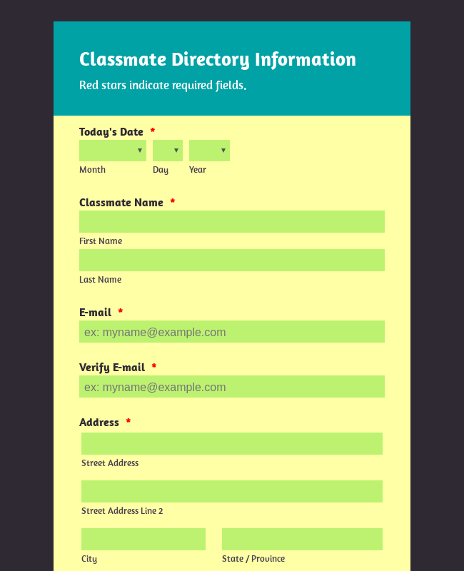 Alumni Contact Directory Form - Paint Theme
