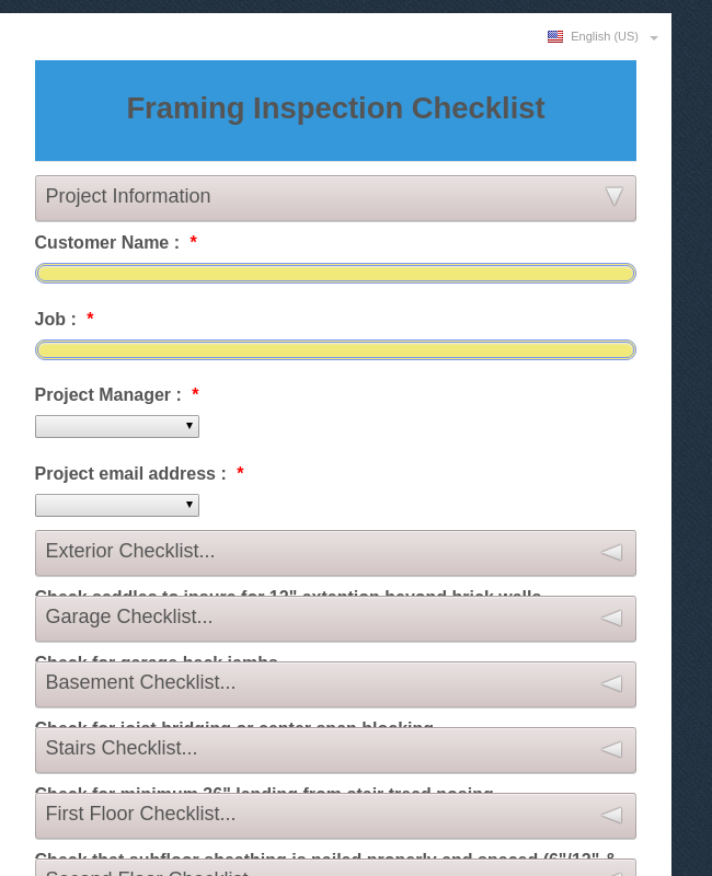 Framing Punch Checklist