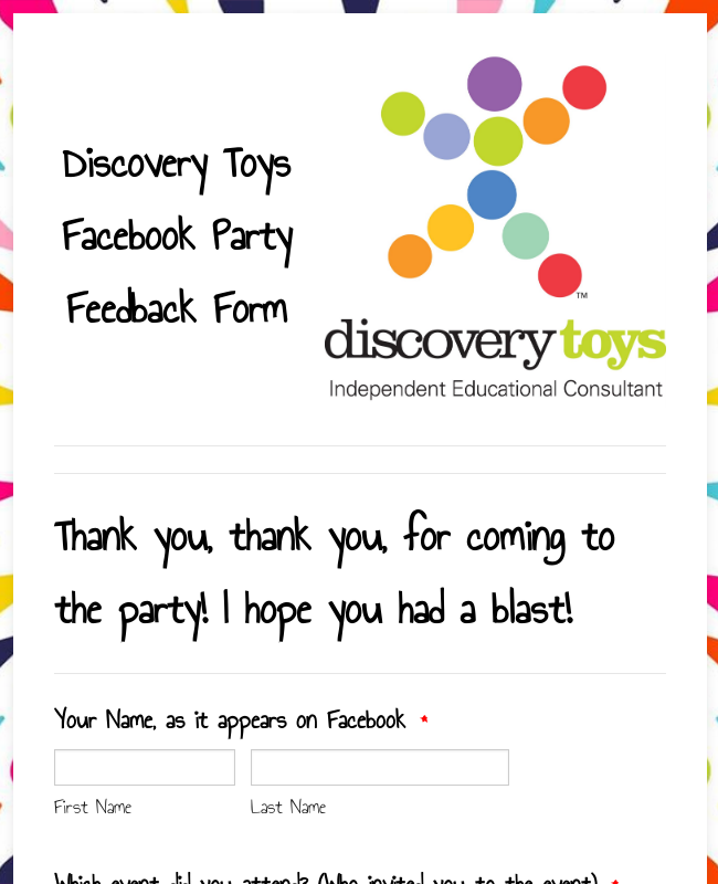 Discovery Toys Feedback Form
