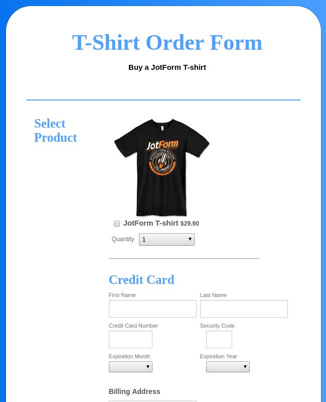 A Net T Shirt Order Form