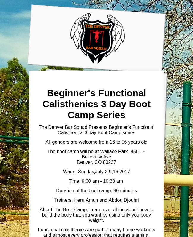 Beginner's Functional Calisthenics Boot Camp