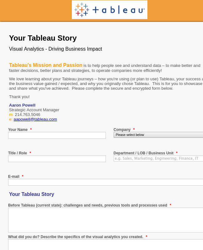 Tableau Customer Survey
