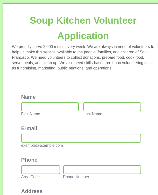 Soup Kitchen Volunteer Application