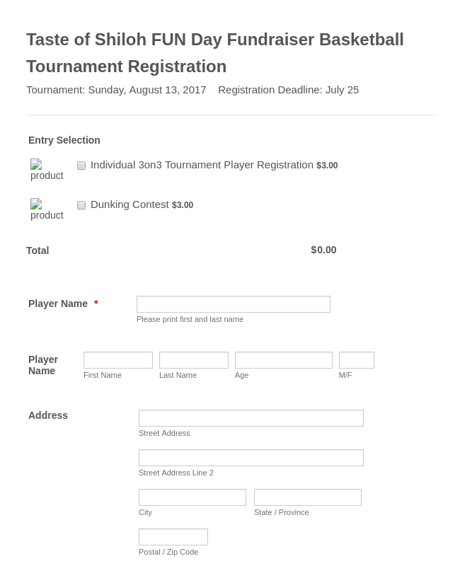 Sports Tournament Registration Form