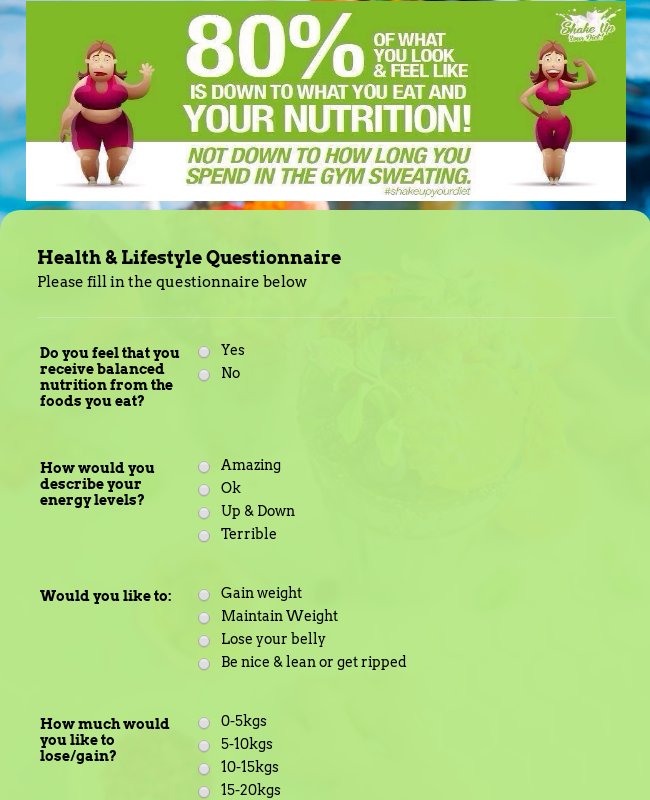 Health & Lifestyle Questionnaire