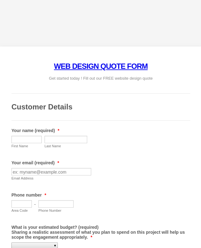 Website Design Quote and Order Form