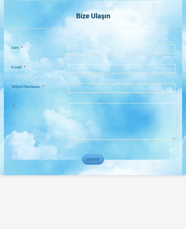 Mavi Gökyüzü Ulaşım Formu