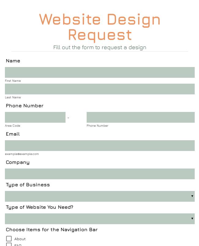 Website Design Request Form