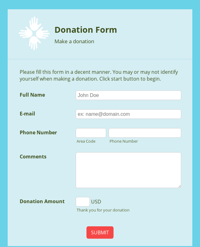 WePay Online Donation Form