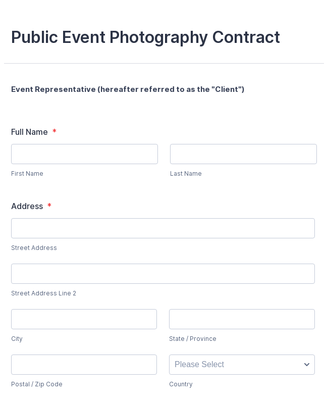 WePay Event Photography Contract