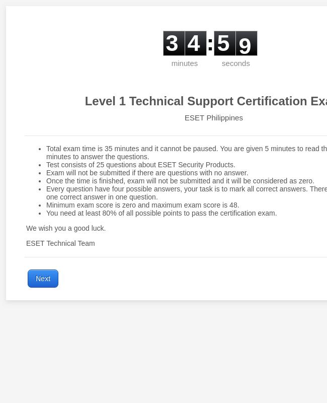 ESET L1TechSupport Exam