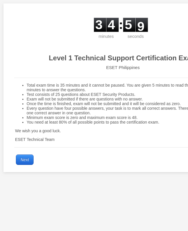 ESET L1TechSupport Exam