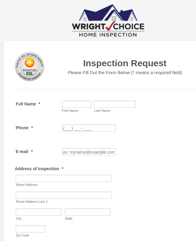 Wright Choice Inspection Request Form