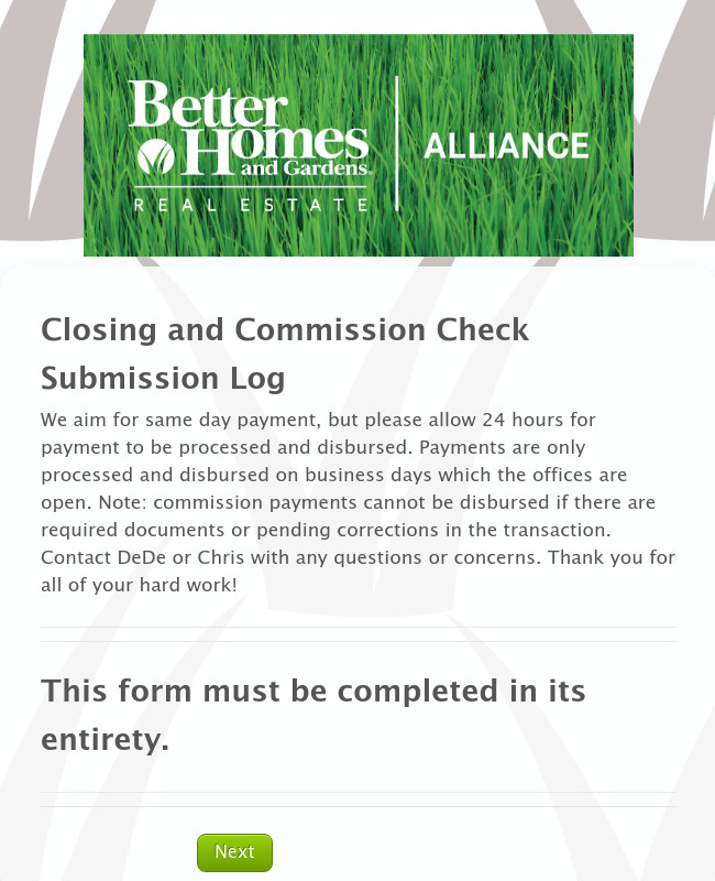 Closing and Commission Check Submission Log