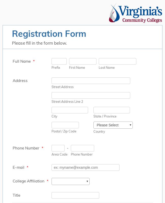 VCCS Generic Registration Form