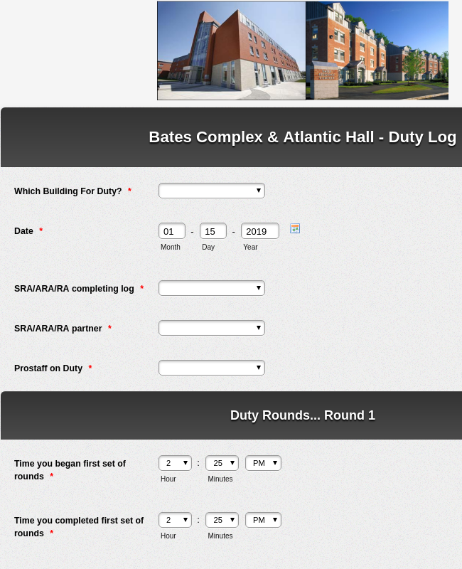Atlantic Hall and Bates Complex Duty and Inspection Log
