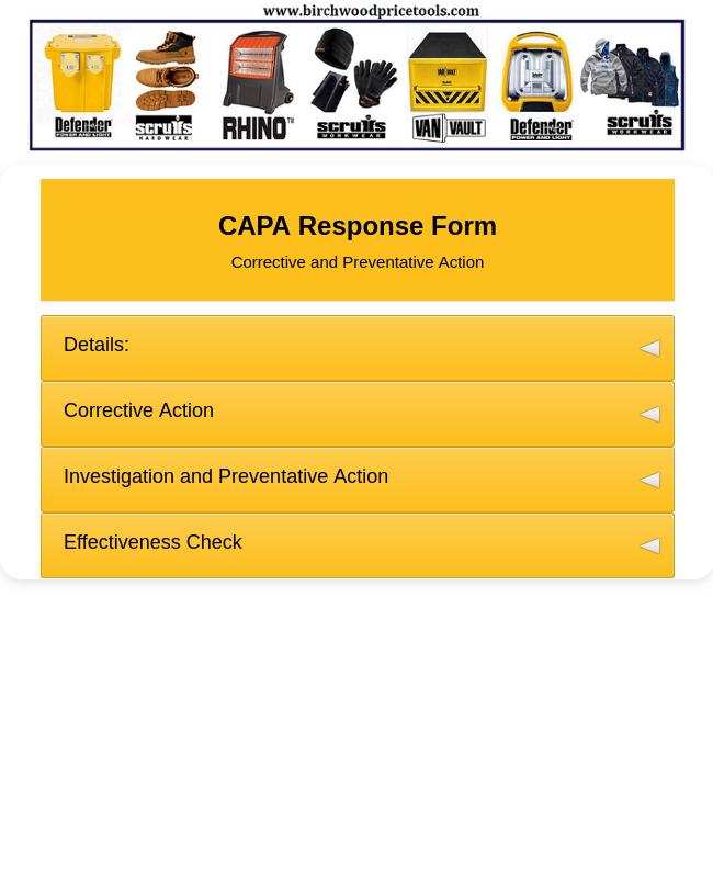 BPT - CAPA Response (Stake Holder) Form 2019