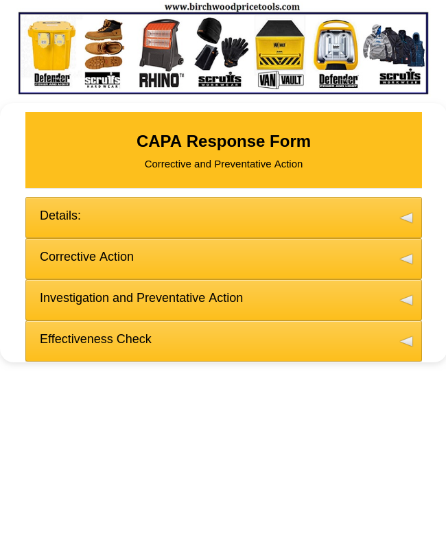 BPT - CAPA Response (Stake Holder) Form 2019