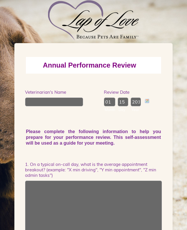 Annual Veterinarian Review (2+ years)