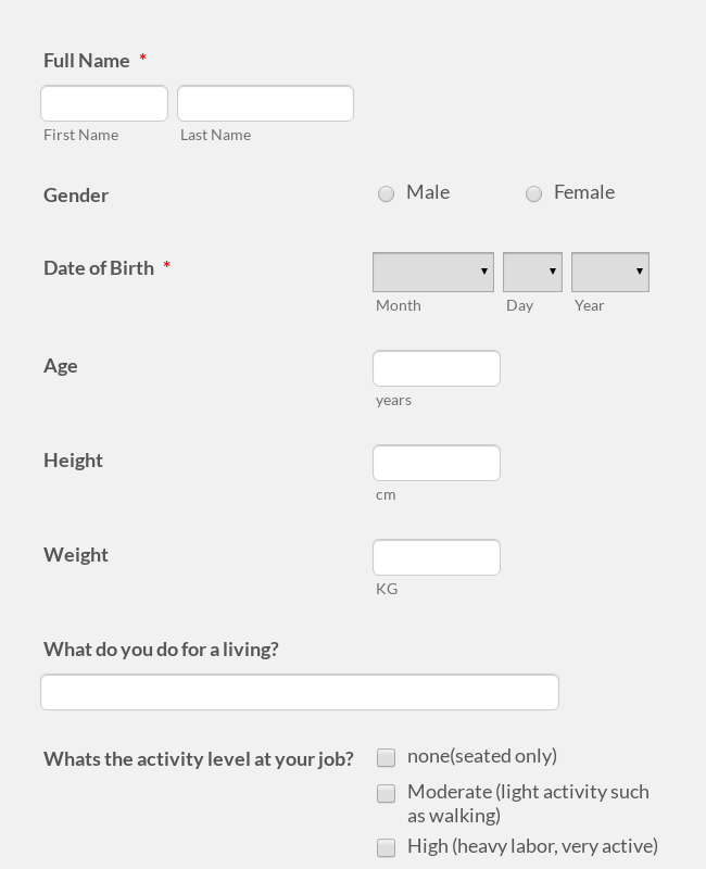 Personal Training Consultation Questionnaire