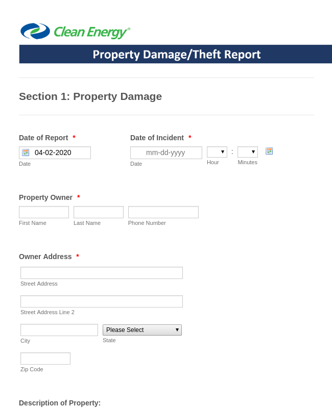 Property Damage/Theft Report